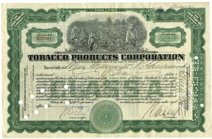 Tobacco Products Corporation stock certificate