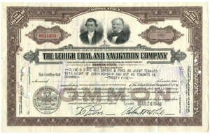 Lehigh Coal and Navigation stock certificate