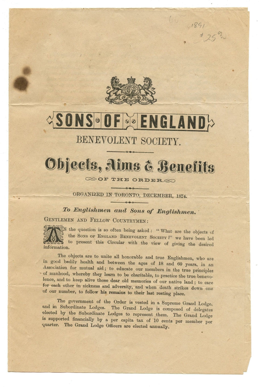 Sons of England Benevolent Society: Objects, Aims & Benefits of the Order