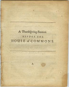 A Thanksgiving-Sermon Before the House of Commons