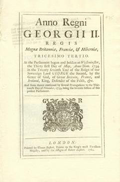 Anno tricesimo tertio Georgii II. Regis. An Act for encouraging the Exportation of Rum and Spirits of the Growth, Produce, and Manufacture, of the Britifh Sugar Plantations, from this Kingdom, and of Britifh Spirits made from Melaffes
