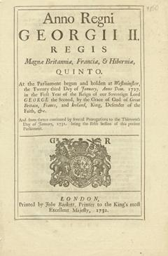 Anno quinto Georgii II. Regis. An Act to prevent the Exportation of Hats out of any of His Majesty's Colonies or Plantations in America, and to reftrain the Number of Apprentices taken by the Hat-makers in the said Colonies or Plantations.
