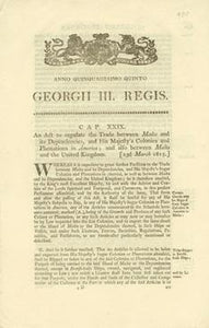 An Act to regulate the Trade between Malta and its Dependencies, and His Majefty's Colonies and Plantations in America; and alfo between Malta and the United Kingdom