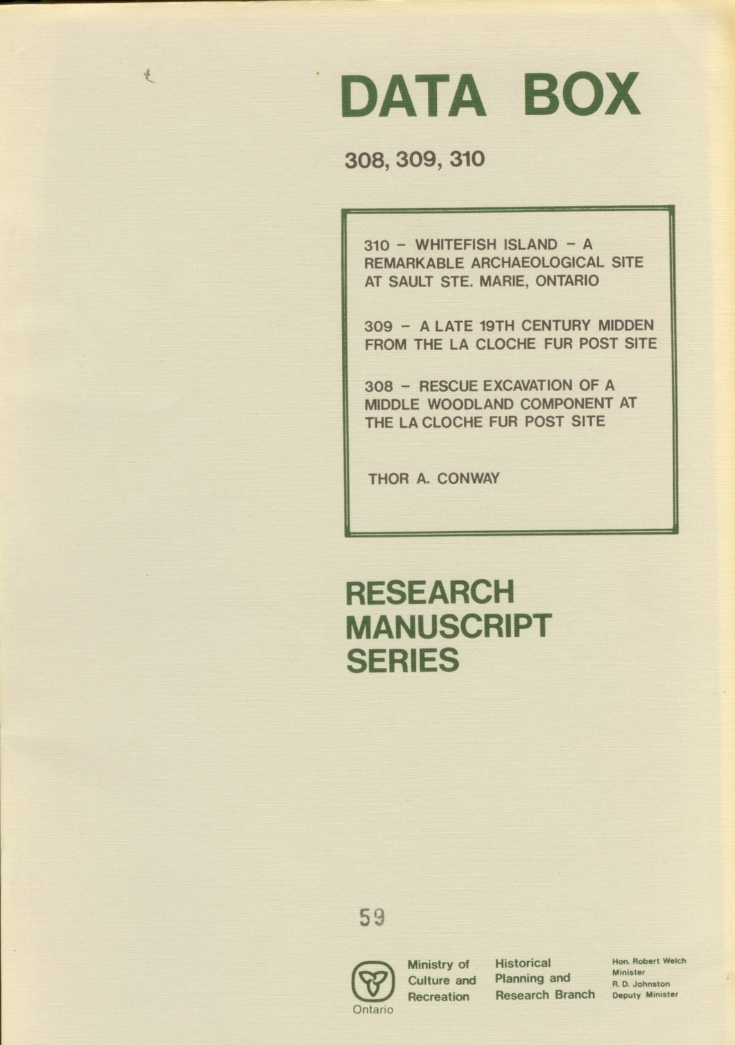 Data Box Research Manuscript Series May 1977