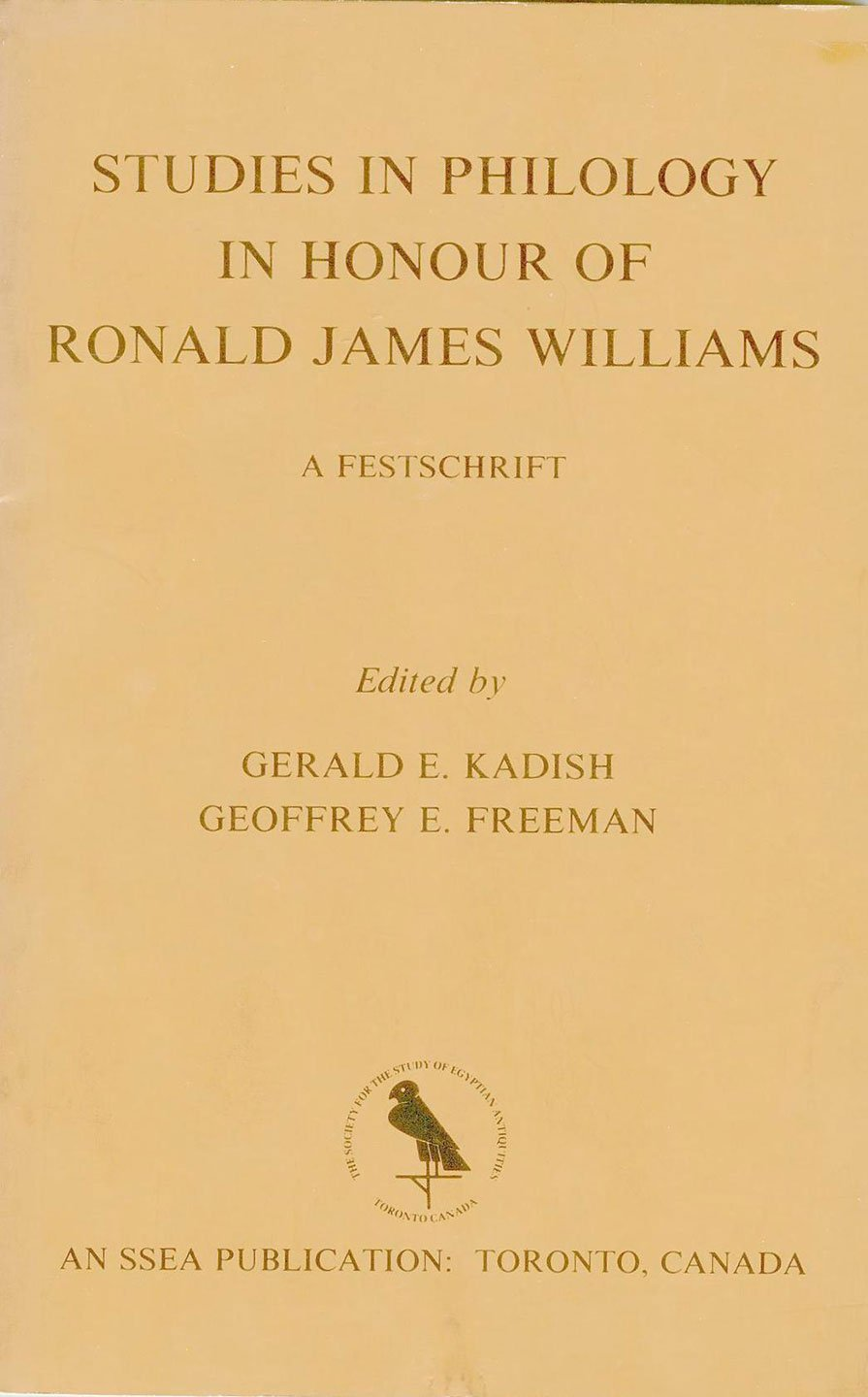 Studies in Philology in Honour of Ronald James Williams: A Festschrift