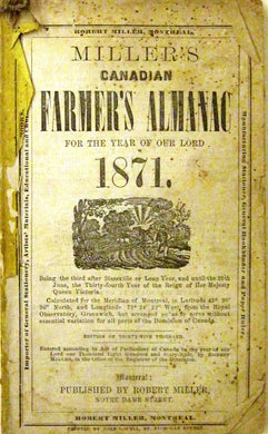 Miller's Canadian Farmer's Almanac For the Year of Our Lord 1871