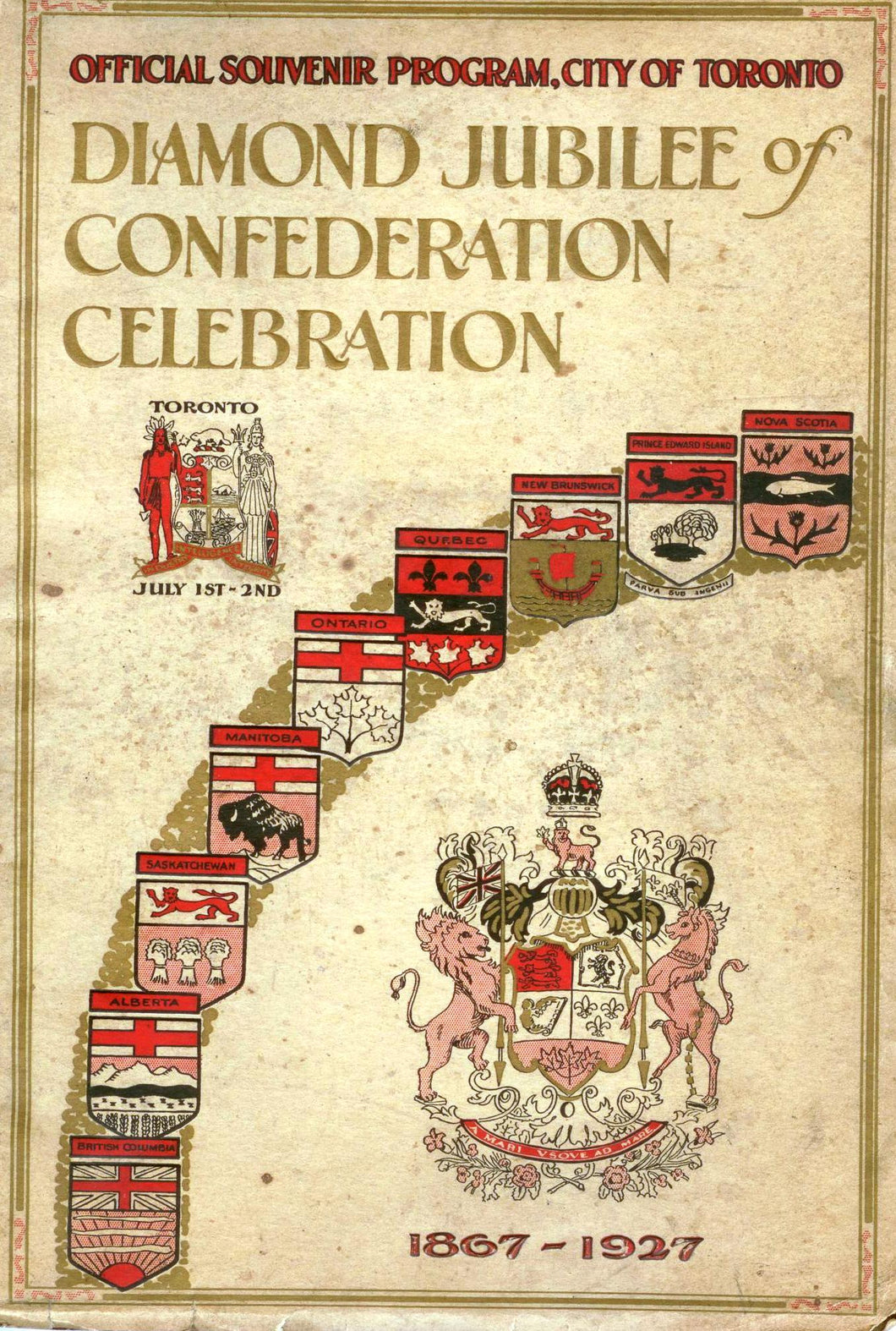 Diamond Jubilee of Confederation Celebration Offical Souvenir Program, City of Toronto