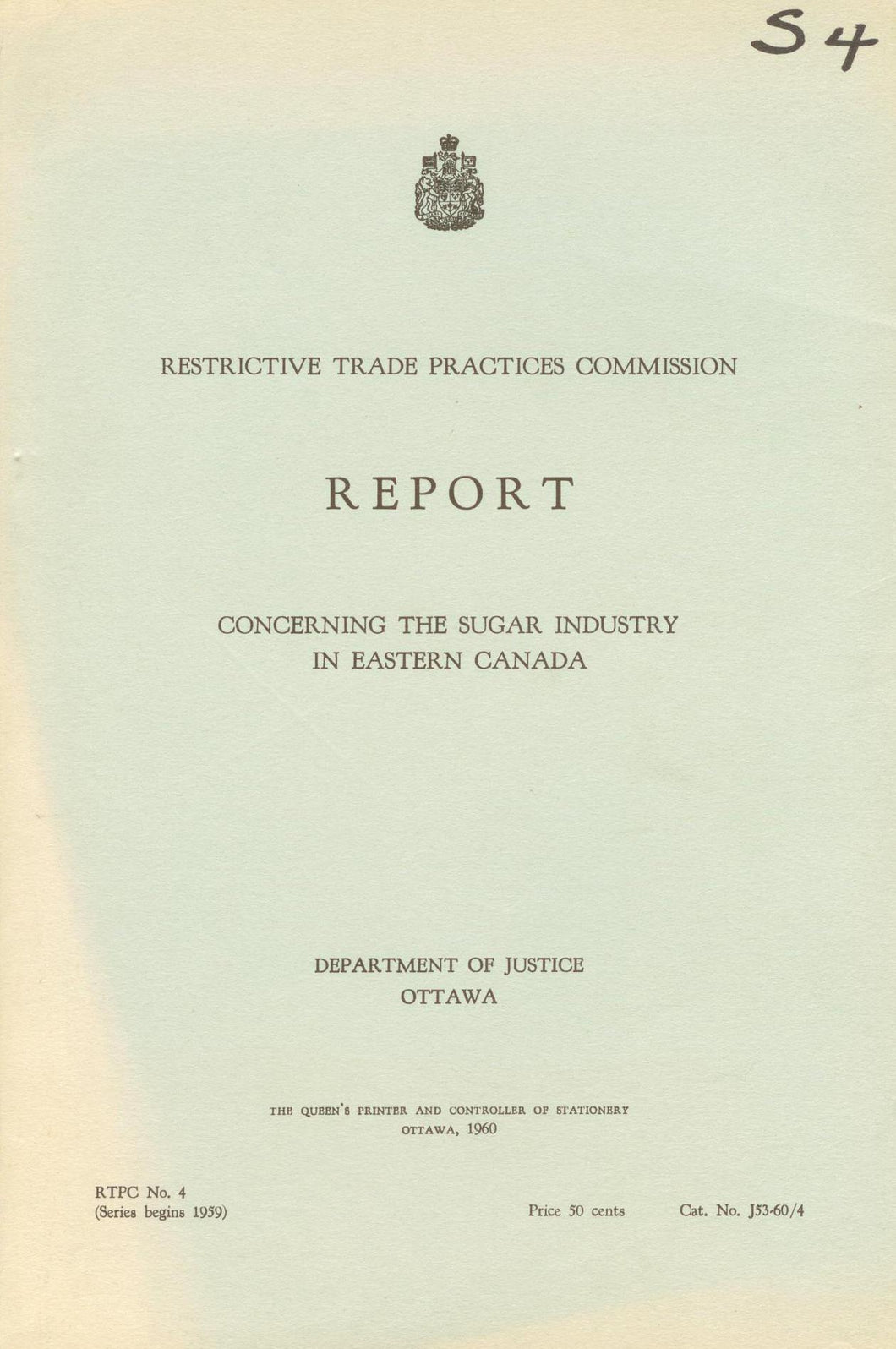 Report Concerning the Sugar Industry in Eastern Canada