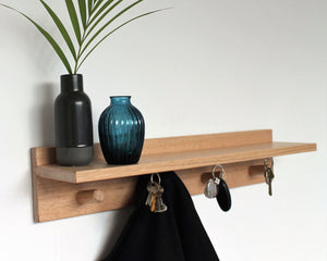 Floating Shelf and Coat Rack |  Coat Hooks and Magnetic Keyholders