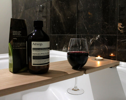 Bath Caddy | Bath Caddy with Double Wine Glass Holder