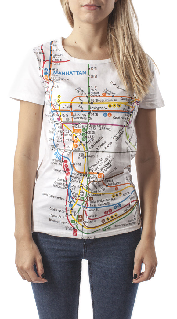 Subway Map (Manhattan) Junior T-Shirt