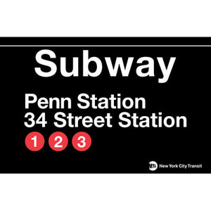 Subway Penn Station Metal Sign