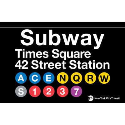 Subway Times Square Metal Sign