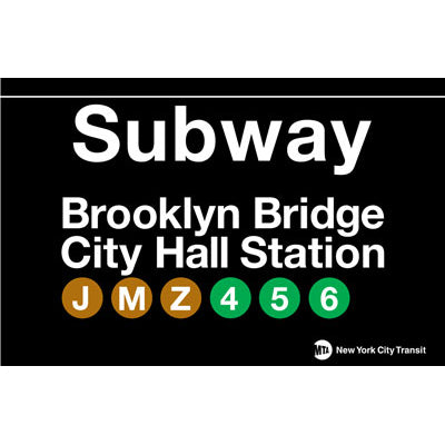 Subway Brooklyn Bridge Metal Sign