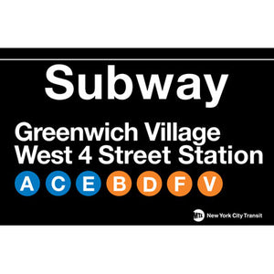 Subway Greenwich Village Metal Sign