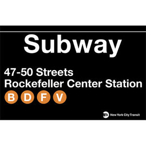Subway Rockefeller Center Station Metal Sign