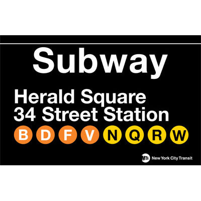Subway Herald Square Metal Sign
