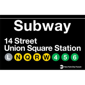 Subway Union Square Metal Sign