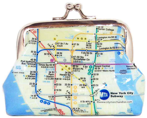 Subway Map - Blue Coin Bag