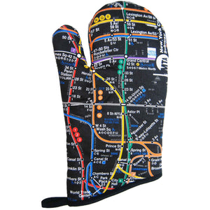 Subway Map - Black Oven Mitt