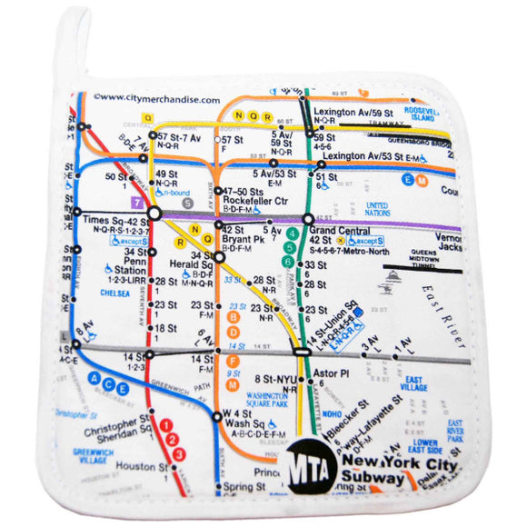 Subway Map - White Pot Holder