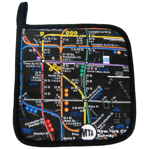 Subway Map - Black Pot Holder