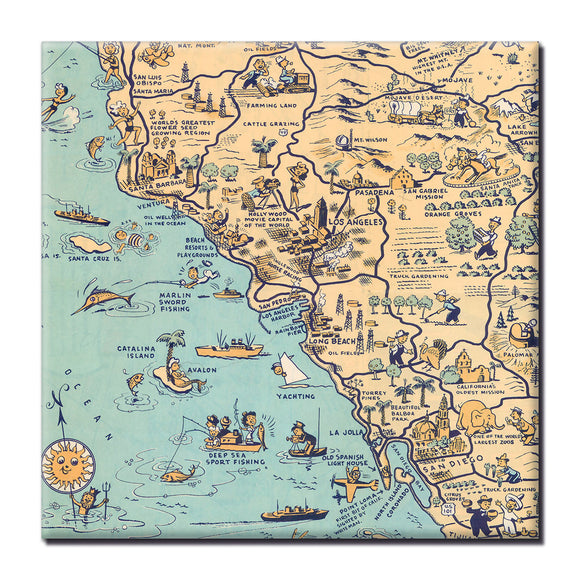 Golden State (San Diego) Square Magnet