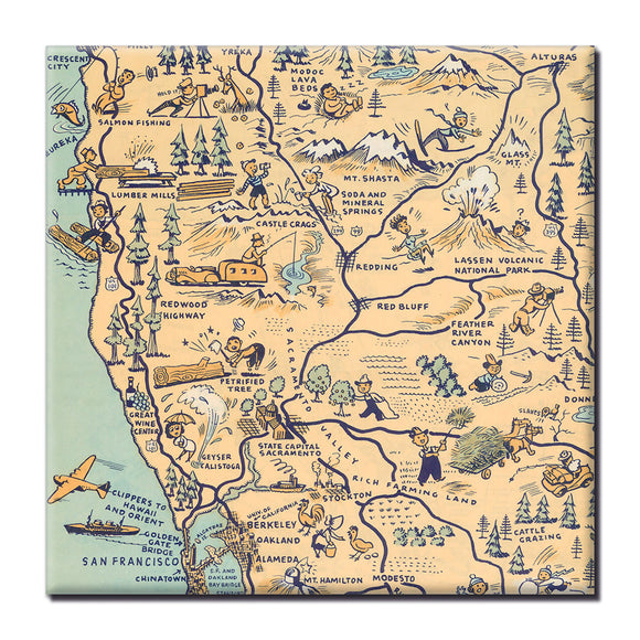 Golden State (Northern California) Square Magnet