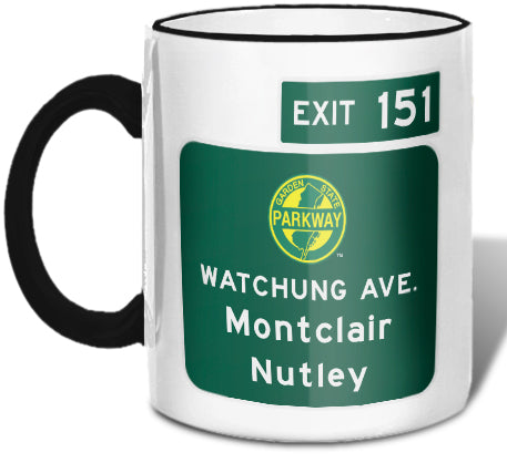 Watchung Ave. / Montclair / Nutley (Exit 151) Mug
