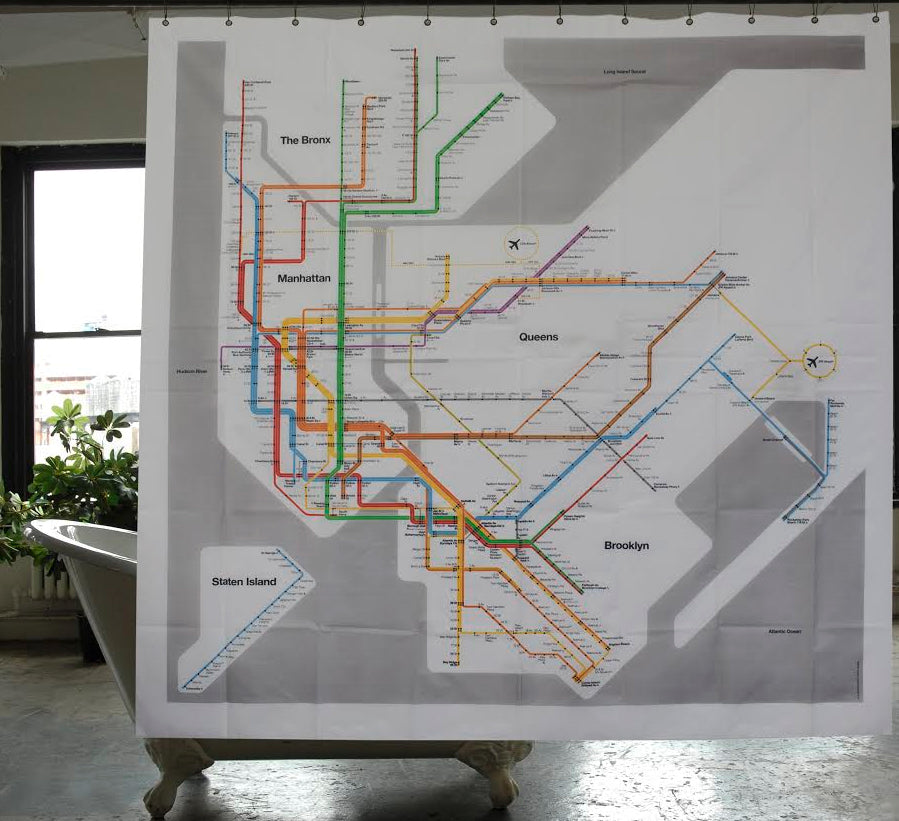 Vignelli Subway Map Current.Nyc Vignelli Subway Map Shower Curtain
