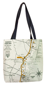 Garden State Parkway Retro Map Tote Bag