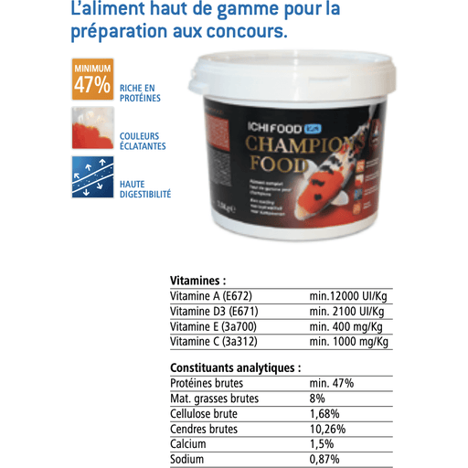 Aquatic Sciences Nourriture ICHI FOOD CHAMPION'S 9 MM 10 KG - Champion Food Koï Pro Nourriture 5425030685730 DAFCPF910E