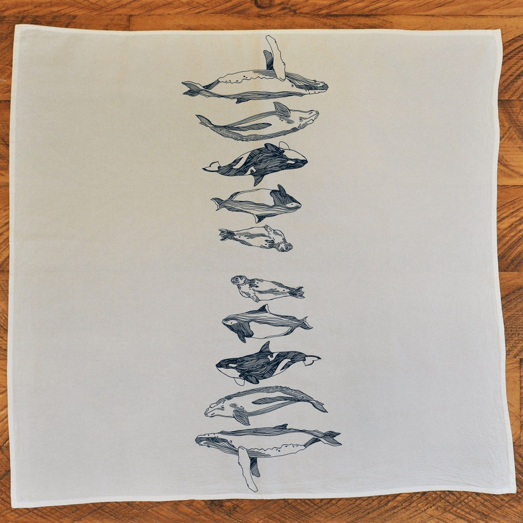 Tea Towel Salish Sea Mammals