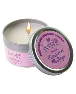 Foreplay Pheromone Soy Massage Candle - 4 Oz Strawberries & Champagne