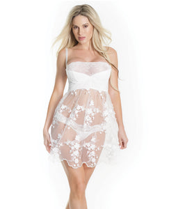Lightly Padded Demi Cup, Fine Tulle Skirt Babydoll W-3d Floral Detail & Thong White Lg