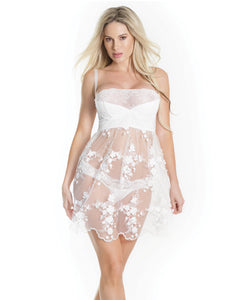 Lightly Padded Demi Cup, Fine Tulle Skirt Babydoll W-3d Floral Detail & Thong White Md