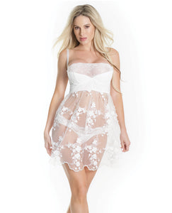 Lightly Padded Demi Cup, Fine Tulle Skirt Babydoll W-3d Floral Detail & Thong White Sm