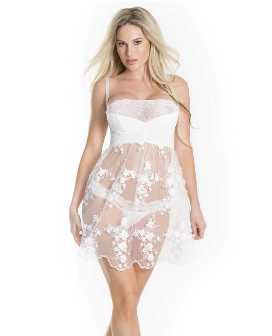 Lightly Padded Demi Cup, Fine Tulle Skirt Babydoll W-3d Floral Detail & Thong White Xl
