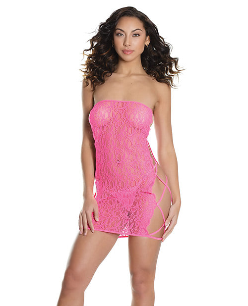 Bold Stretch Lace Versatile Tube Dress W-strappy Back (g-string Not Included) Neon Pink O-s