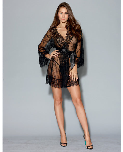 Long Sleeved Lace Kimono Robe W-eyelash Trim & Attch. Satin Belt Black Md