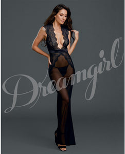 Sheer & Lace Gown W-g-string Black Lg