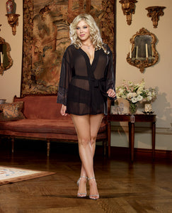 Chiffon & Stretch Lace Short Length Kimono Robe & Cheeky Panty Black 1x-2x