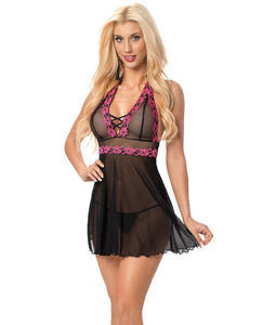 Halter Embroidered Babydoll Black-fuchsia O-s