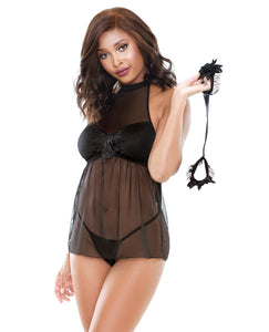 Tease Mesh Baby Doll W-g-string & Handcuffs Black S-m