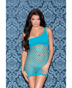 One Shoulder Solid & Diamond Patterned Seamless Dress Teal O-s