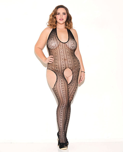 Haltered Patterned Open Crotch Bodystocking Black Qn