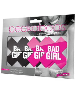 Peekaboos Bad Girl Pasties - 2 Pairs 1 Black-1 Pink