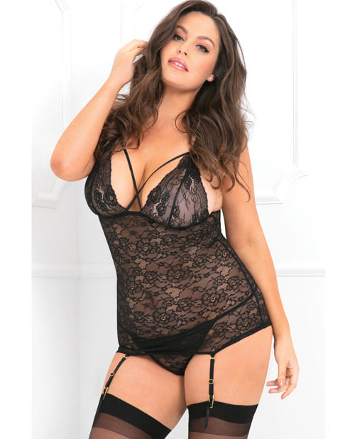 cead62426 Rene Rofe Lace Time Chemise   Garter Black 3x-4x – Eve s Body Shop