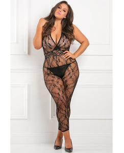 Rene Rofe Lacy Moive Bodystocking Black 1x