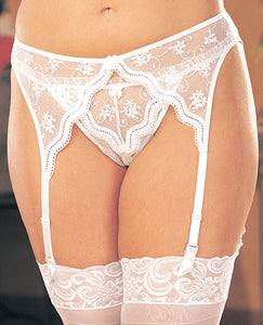 Scalloped Embroidery Garterbelt W-adjustable Front & Back Garters White 3x-4x